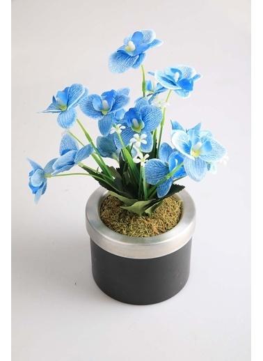 Kibrithane Çiçek Yapay Çiçek Metal Saksı Mavi Kumaş Orkide Kc00200814 Renkli